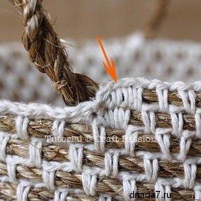 Красивая корзина из веревки 7 (400x400, 101Kb)