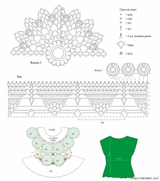 ажурная блуза крючком схема (618x700, 214Kb)