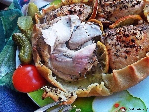 Курица, запечённая в съедобной тарелке 4 (604x453, 236Kb)