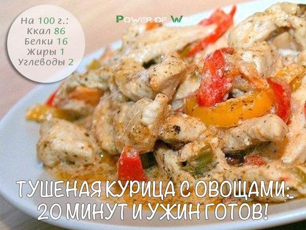 Тушеная курица с овощами за 20 минут