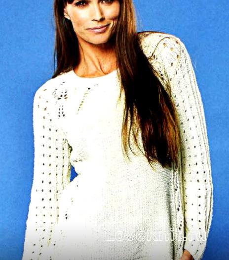 Пуловер с ажурными рукавами реглан спицами