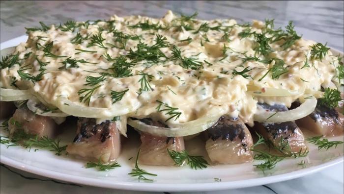 Невероятно вкусная закуска Селедка под сырным соусом