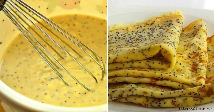 Способ приготовления тонких лимонно-маковых блинчиков